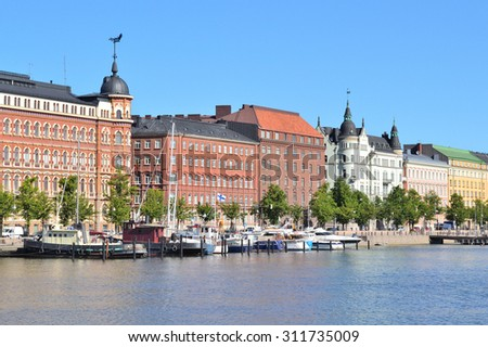 Helsinki, Finland. North Quay in a sunny summer morning