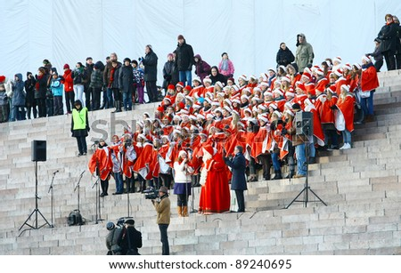 HELSINKI, FINLAND - NOVEMBER 20: Traditional Christmas Street opening ceremony in Helsinki on November 20, 2011. Unidentified participants