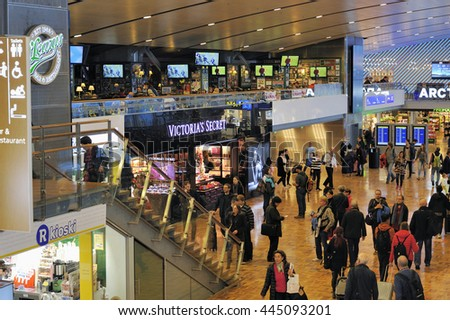 HELSINKI, FINLAND - NOVEMBER 16, 2015:Travelers and shops at Helsinki International Airport. This is Helsinki International Airport. November 16, 2015 Helsinki, Finland