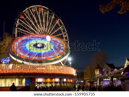 HELSINKI, FINLAND - OCTOBER 17: Carnival of Light at Linnanmaki amusement park on October 17, 2013 in Helsinki, Finland. Linnanmaki has entertained families since 1950.