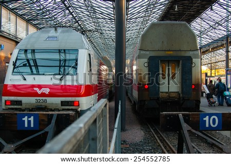 HELSINKI, FINLAND - OCTOBER 5, 2010; The Passenger trains on the Central railway station of Helsinki.