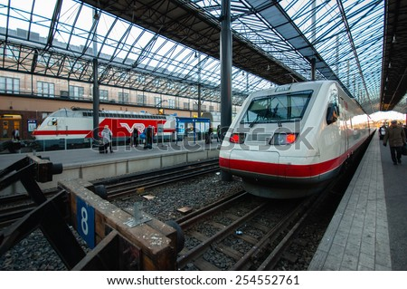 HELSINKI, FINLAND - OCTOBER 5, 2010; The Pendolino high speed trains on the Central railway station of Helsinki.