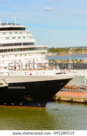 HELSINKI, FINLAND - SEP 12, 2016: Touristic cruiser at the port of Helsinki, the capital of Finland.