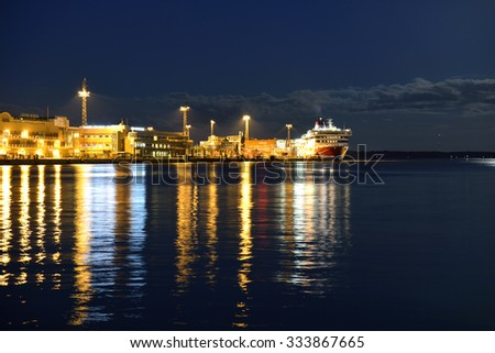 HELSINKI, FINLAND - SEPT 26, 2015:Red and white Viking Line ferry is moored in port, this is regular cruise ship goes between Helsinki and Stockholm - stock photo