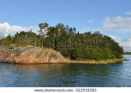 HELSINKI, FINLAND - SEPTEMBER 26, 2015: Helsinki`s shoreline is adorned by around 100 km of coast and over 300 islands of which many are accessible for recreational use