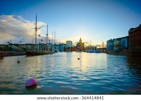 Helsinki landscape on sunset - stock photo