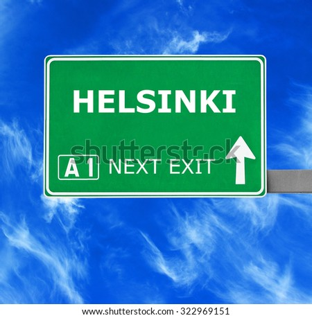 HELSINKI road sign against clear blue sky