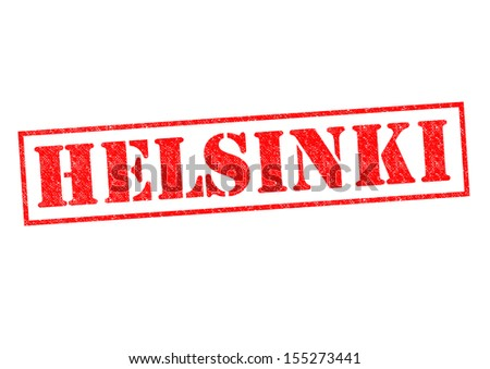 HELSINKI Rubber Stamp over a white background. - stock photo