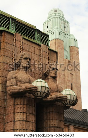 Helsinki train station - statues - stock photo