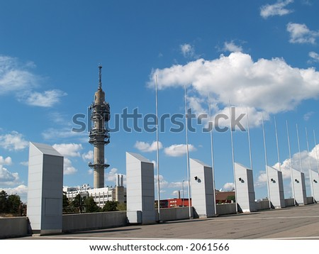 Helsinki TV tower in background of ventilation outputs, view - stock photo