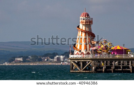 Helter Skelter on the end of Bournemouth pier - stock photo