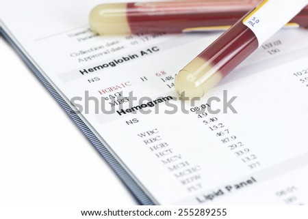Hematology blood level hemogram report with gold color blood sample collection tubes.