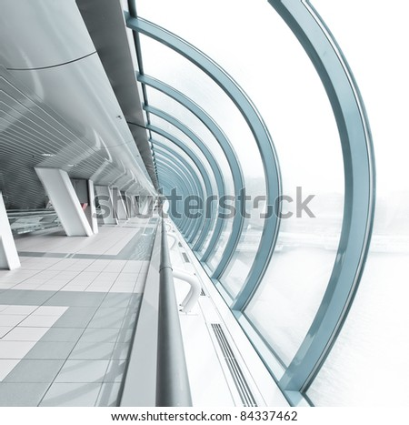 hemispherical airport interior in futuristic style - stock photo