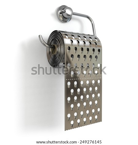 Hemorrhoids concept.Toilet paper  as grater. 3d - stock photo