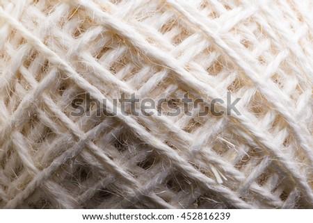Hemp rope roll close-up texture - stock photo