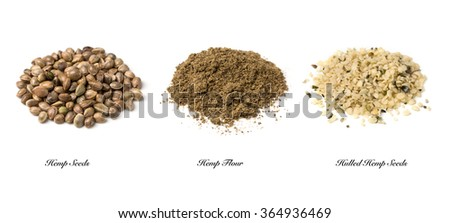Hemp seeds and flour isolated on a white background - stock photo