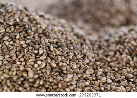 Hemp Seeds close-up picture for use as background image or as texture - stock photo