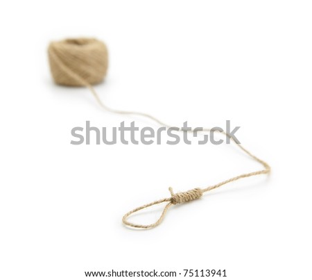 Hemp string with noose on end. - stock photo