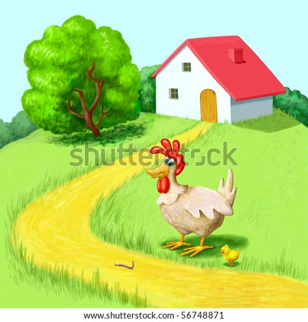 Hen and chicken,  cottage, lawn - stock photo