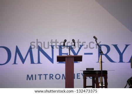HENDERSON, NV - OCTOBER 23: Empty microphones for Governor Mitt Romney at the 2012 Republican Presidential Candidate ON October 23, 2012 in Henderson Pavilion, Henderson, Nevada. - stock photo