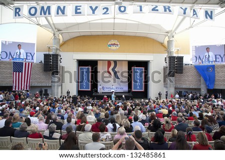HENDERSON, NV - OCTOBER 23: Republican Presidential campaign rally at Henderson Pavilion on October 23, 2012 in Henderson, Nevada - stock photo