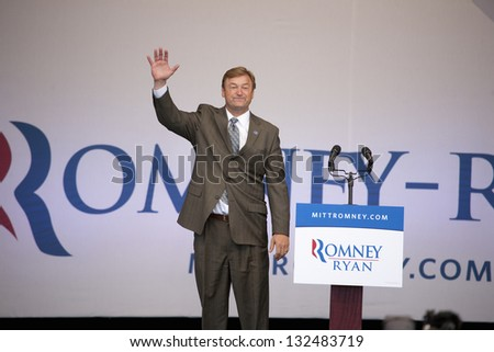 HENDERSON, NV - OCTOBER 23: US Senator Dean Heller campaigns for Governor Mitt Romney Presidential candidate at Henderson Pavilion on October 23, 2012 in Henderson, Nevada. - stock photo
