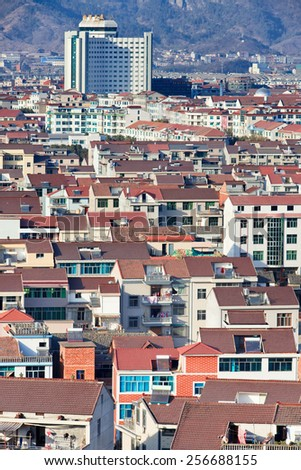 HENGDIAN, CHINA - JAN. 1, 2105. Hengdian city view. Chinese town in Dongyang, Jinhua, Zhejiang Province, famous because of Hengdian World Studios with 13 shooting 330 ha., building areas of 495,995 sq. meters.