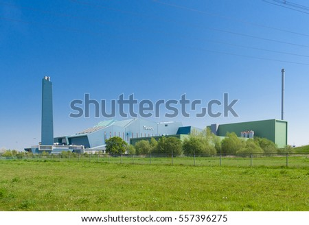 HENGELO, NETHERLANDS - APRIL 7, 2016: Exterior of the Twence waste treatment plant. It recycles 95% of all the incoming household waste from the Twente region.