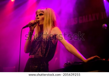 HENGELO OV, NETHERLANDS - OCTOBER 12: Mette Lindberg performing with Asteroids Galaxy Tour at Poppodium Metropool on October 12, 2012 in Hengelo OV, Netherlands.