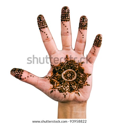 Henna design on the palm of the hand - isolated in white.
