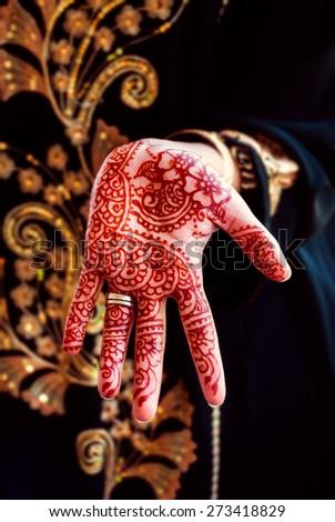 Henna hand tattoo body art tradition color  - stock photo