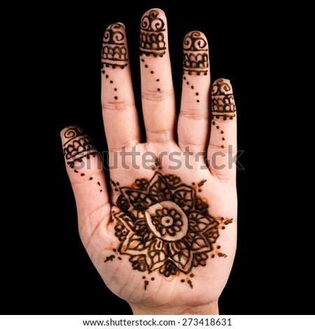 Henna hand tattoo decoration art clipping path square black background - stock photo