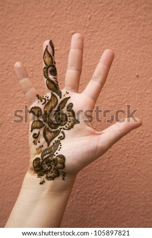 Henna on hand - stock photo