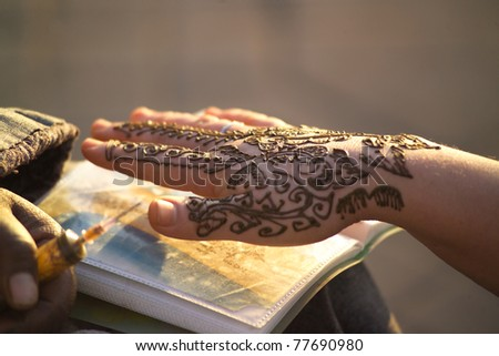 Henna tattoo - stock photo