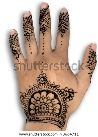 Henna tattoo - Body art - white background
