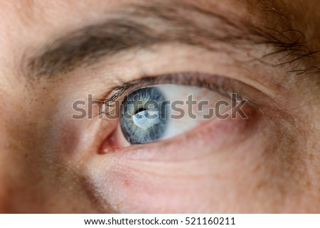 HENNIGSDORF, GERMANY - NOVEMBER 6: Closeup photo of reflection of the Google logo on computer screen in a male eye on Nov 6, 2016 in Hennigsdorf, Germany, Europe