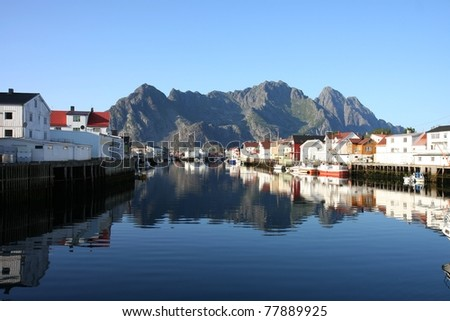 Henningsvær at Lofoten in northern Norway - stock photo