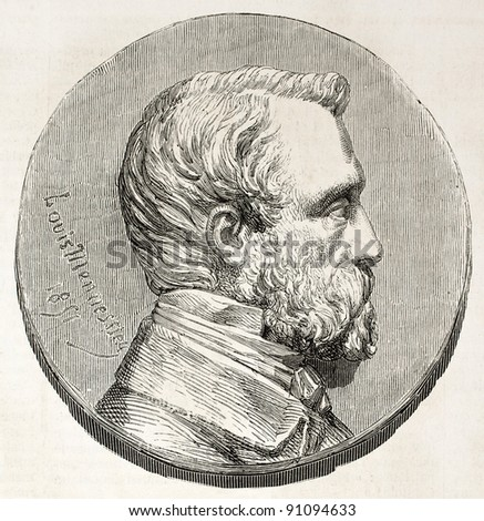 Henry Bruneel commemorative medal (French journalist). Created by Marc after coin of Mennesser and photo of Leblondel, published on L'Illustration, Journal Universel, Paris, 1858 - stock photo