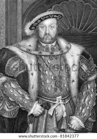 Henry VIII (1491-1547). Engraved by W.T.Fry and published in Lodge's British Portraits encyclopedia, United Kingdom, 1823. - stock photo