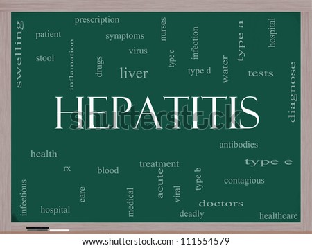 Hepatitis Word Cloud Concept on a Blackboard with great terms such as liver, virus, type b, viral, symptoms and more. - stock photo