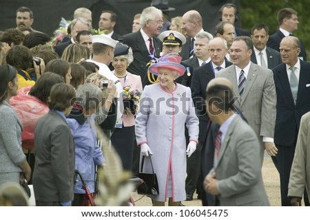 Her Majesty Queen Elizabeth II and the Duke of Edinburgh, Prince Philip and Virginia Governor Timothy M. Kaine arriving at the Virginia State Capitol, Richmond Virginia, May 3, 2007 - stock photo