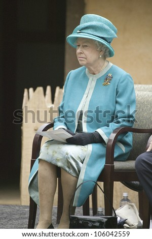 Her Majesty Queen Elizabeth II observing ceremony at James Fort, Jamestown Settlement, Virginia on May 4, 2007, the 400th Anniversary of English establishment of 1607 Jamestown Colony, Virginia - stock photo