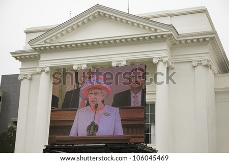 Her Majesty Queen Elizabeth II speaking on a large television monitor to the Virginia State Assembly, at the Virginia State Capitol in Richmond Virginia, May 3, 2007 - stock photo