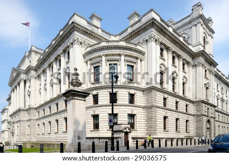 Her Majesty's Treasury Building, Government Offices Great George Street, Westminster, London, England, UK on a sunny day - stock photo