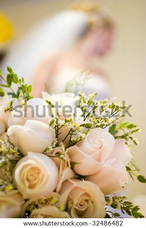 Her Wedding Bouquet - stock photo