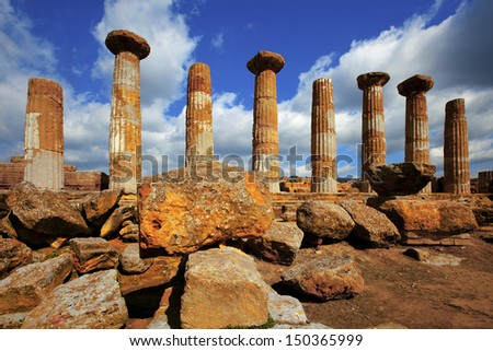 Herakles Temple, Agrigento, Sicily, Italy - stock photo
