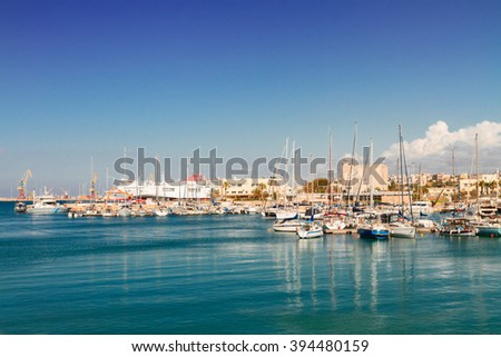 Heraklion harbour and marina  at sunny day, Crete, Greece - stock photo