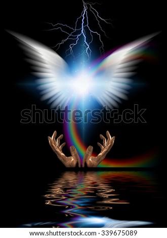 Heraldic angel - stock photo
