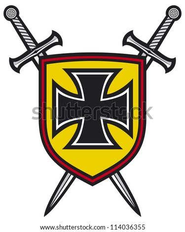 heraldic composition - shield, crossed swords and cross (coat of arms) - stock photo