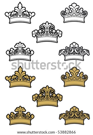 Heraldic crowns and diadems. Vector version also available in gallery